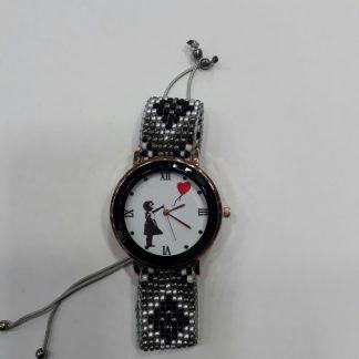 Red Balloon Girl Wristwatch (Black)