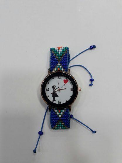 Red Balloon Girl Wristwatch (Blue)