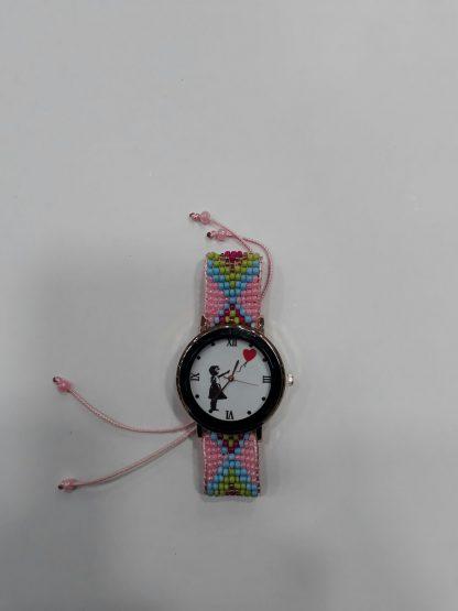 Red Balloon Girl Wristwatch (Pink)