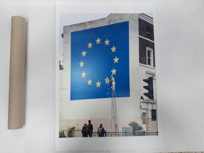 Poster - Man Chipping away at EU Flag