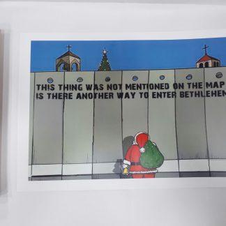 Poster - Santa stuck behind Wall