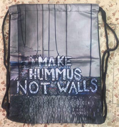 Make Hummus Not Walls Drawstring Backpack